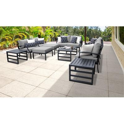 Lexington 12 Piece Outdoor Aluminum Patio Furniture Set 12h in Grey - TK Classics Lexington-12H-Grey
