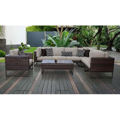 Amalfi 8 Piece Outdoor Wicker Patio Furniture Set 08d in Beige - TK Classics Amalfi-08D-Brn
