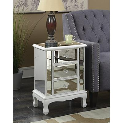 Convenience Concepts Gold Coast Vineyard 3 Drawer Mirrored End Table, White
