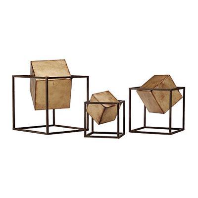 Madison Park Quad Gold Cube Decor Set of 3 Black/Gold See Below
