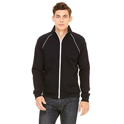 Bella 3710 Mens Piped Fleece Jacket - Black & White, Extra Large