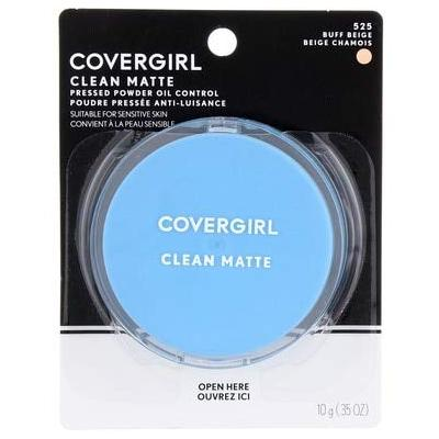 CoverGirl Oil Control Compact Pressed Powder, Buff Beige [525], 0.35 oz (Pack of 4)